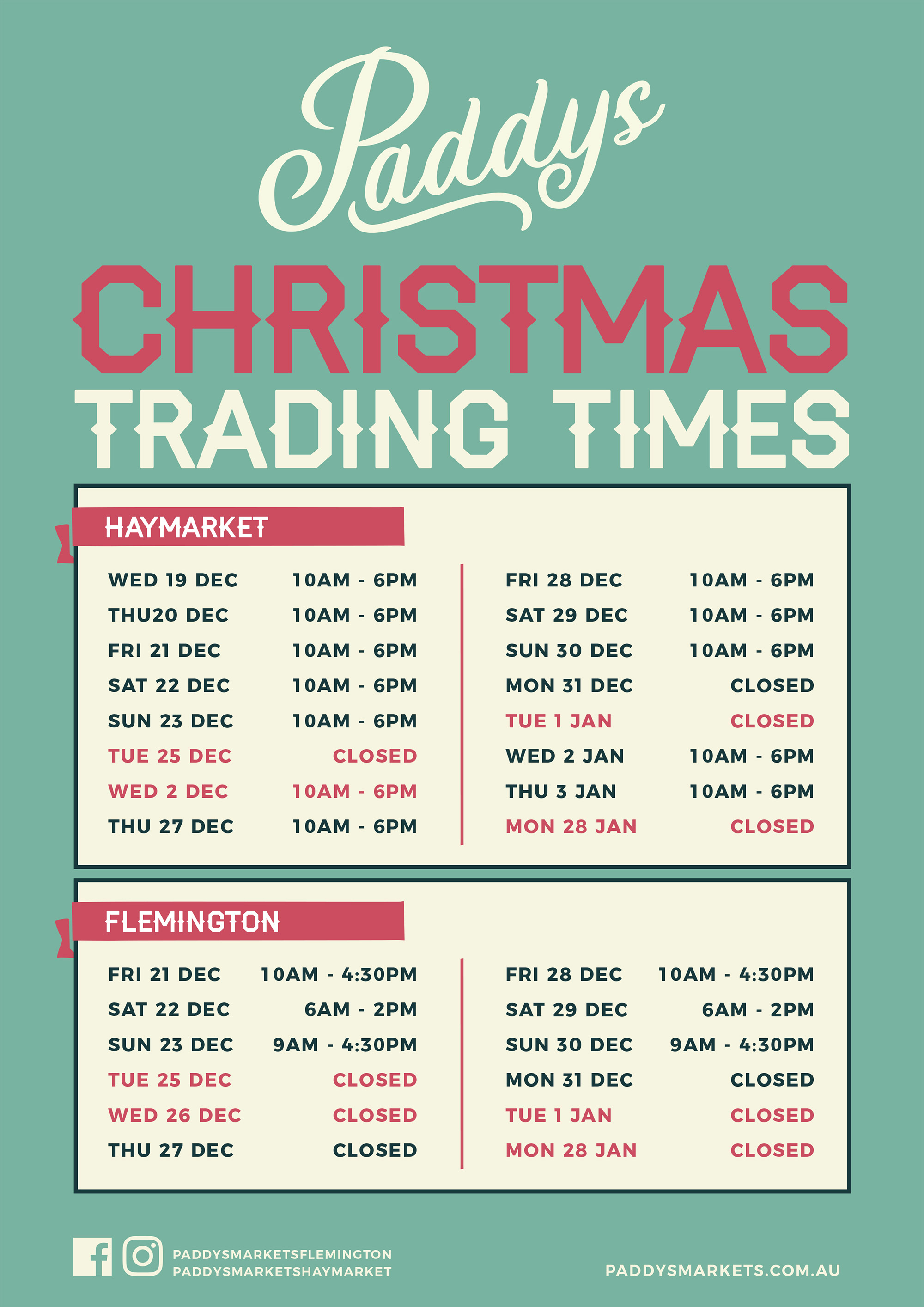 Paddy's Christmas Trading Times 2018/2019