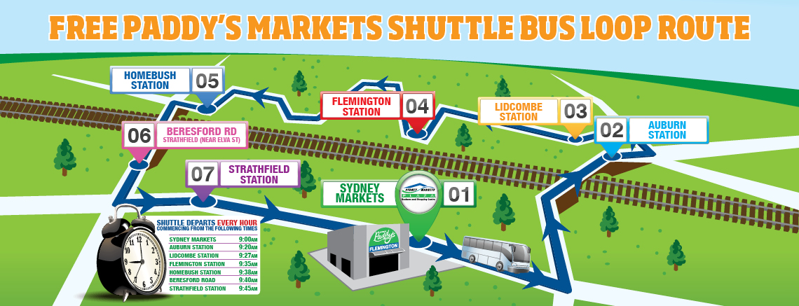 Free Paddy's Markets Shuttle Bus Loop Route